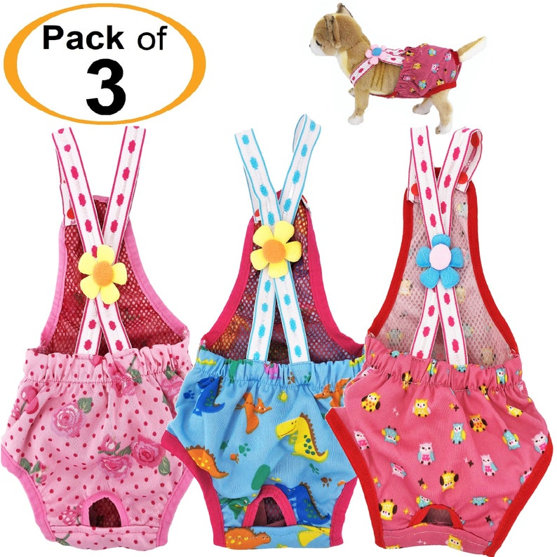 SET of 3 COLORS Diapers Sanitary Pants Stay On Female Suspenders For SMALL Dog PinkBlueHot Pink