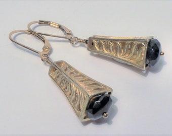 Dumortierite and 14K Gold Vermeil Fern Earrings