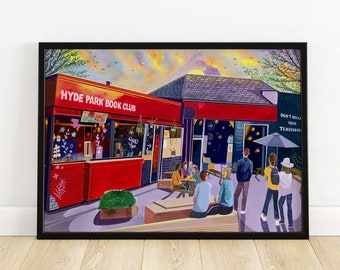Leeds Art Print, Hyde Park Book Club, Headingley, Hyde Park Leeds, Leeds Poster, Leeds Painting, Leeds Gift Idea, A3, A4