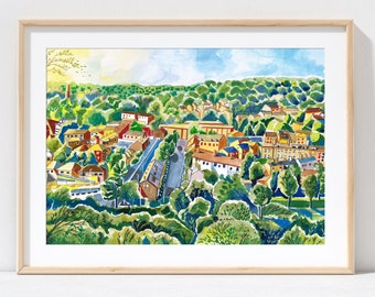 Leeds England, Woodhouse Ridge, Meanwood Valley Trail, Yorkshire, Leeds Art Print, Leeds Travel Poster, Meanwood Painting, A3, A4