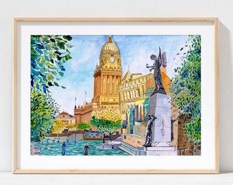 Leeds England, Leeds Art Gallery, Leeds Town Hall, The Headrow, Yorkshire, Leeds Art Print, Leeds Poster, Leeds City Painting, A3, A4