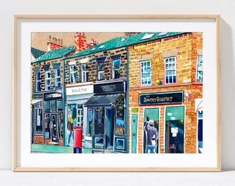 Leeds England, Chapel Allerton, Yorkshire, Leeds Art Print, Leeds Poster, Harrogate Road Painting, Leeds Gift Idea, A3, A4