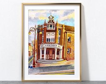 Leeds England, Hyde Park Picture House, Cinema Art, Brudenell Road, Yorkshire, Leeds Art Print, Leeds Poster, Leeds Painting, A3, A4