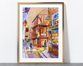 York England, York Shambles, York Artwork, York City, Yorkshire, York Art Print, York Wall Art, York Poster, A4, A3