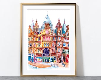 Leeds Kirkgate Market, Illustration Print, Artwork Print, West Yorkshire - Watercolour & Pencil - A4 or A3 Size Print