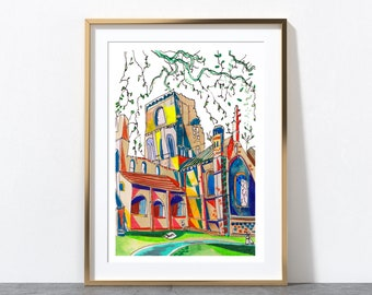 Leeds England, Kirkstall Abbey, Yorkshire, Leeds Art Print, Leeds Poster, Kirkstall Abbey Painting, A3, A4