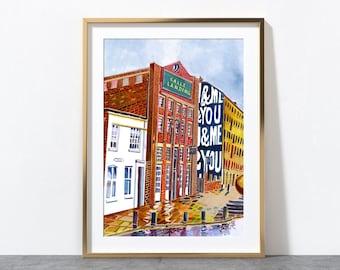 Leeds England, The Calls, Call Lane, Yorkshire, Leeds Art Print, Leeds Poster, Leeds City Painting, A3, A4