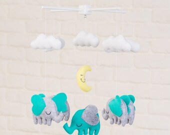 READY TO SHIP - Elephants with Stars and Clouds Mobile, Baby Mobile, Mobile, Nursery Mobile, Felt Mobile, Crib Mobile, Teal Mobile