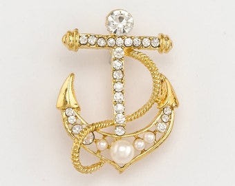 Anchor Brooch, Wedding Brooch, Gold Anchor Brooch, Bridal Brooch, Crystal  Anchor, Beach Wedding Brooch, Pearl Anchor Pin, Anchor Brooch.