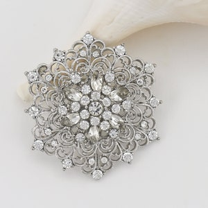 Scratch and Dent Silver Rhinestone Brooch Large Ornate Clear Wedding Pin Embellishment Bridal Bouquet Gown Sash Comb Adornment LG4-4 1
