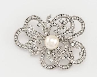 Crystal Rhinestone Brooch, Faux Pearl Brooch, Beach Wedding Brooch, Silver Crystal Pearl Brooch, DIY Jewelry, Crafts Supplies.