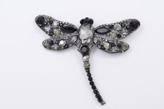 Dragonfly Brooch Black Dragonfly Crystal Dragonfly Bouquet Etsy