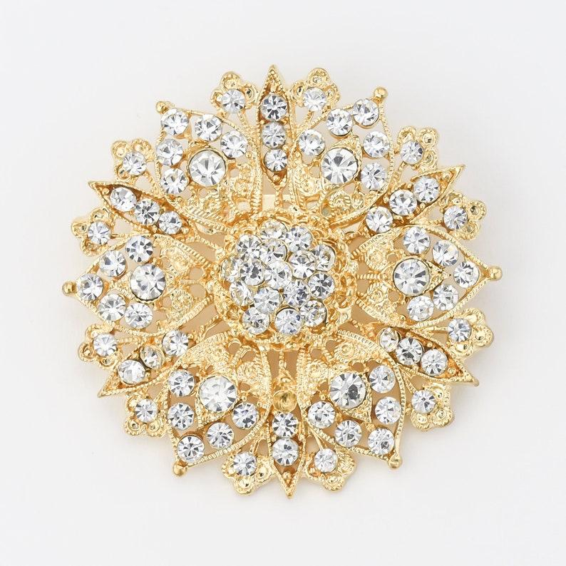 Crystal Gold Brooch Wedding Cake Sash Brooch Bouquet Etsy