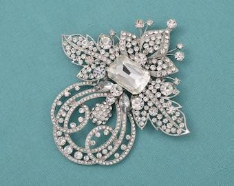 """4.72"""" Rhinestone Brooch Bridal Jewelry Brooch Bouquet Supplies Wedding Bridal Rhinestone Crystal Brooch"""