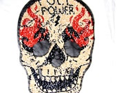 SKULL POWER Patch,Printed Double Sided Skull Patch,Sequin Skull Applique,Douple Face Skull Patch,Sew On patch,Sugar Skull Patch,Gold Skull