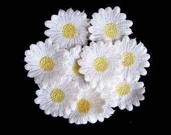 Pcs daisy daisies flowers cm embroidered iron on cloth