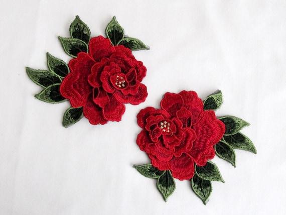 Pz gul patch applique fiore rosa fiore ricamato rose etsy