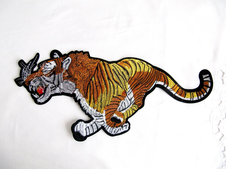 Tiger Run Patch, fer à repasser sur Applique tigre, Animal Patch, embellissement de tigre, brodé tigre Appliques