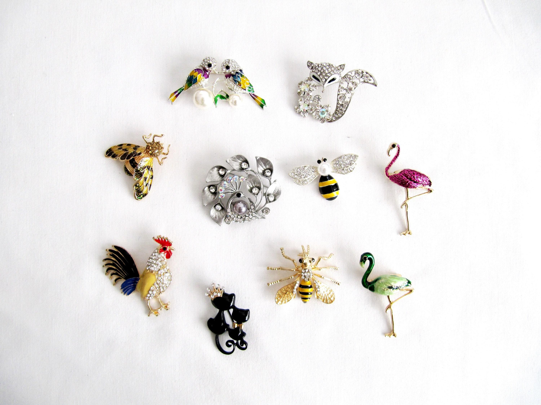 Damas Niñas Plata Brillante Vintage Flamingo Broche Pin