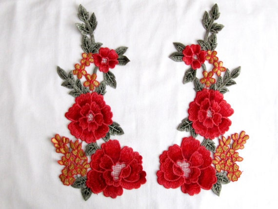 A pair trento mirror flower patches pcs flower applique red etsy