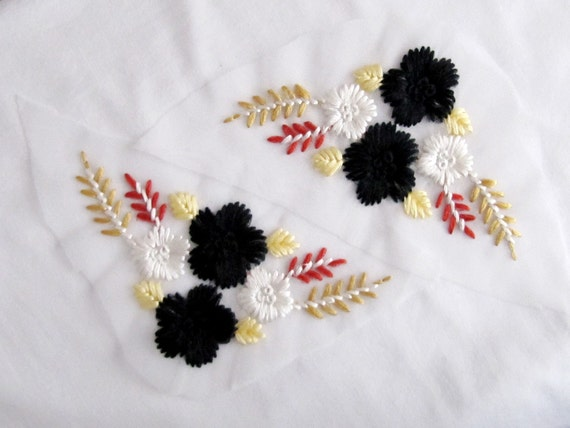 Black flower patch mirror patch embroidery applique etsy