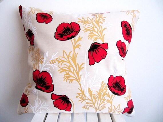 Poppy Pillow Cover Poppy Pillow Case Decorative Pillow Poppy Etsy Enchanting Poppy Decorative Pillows