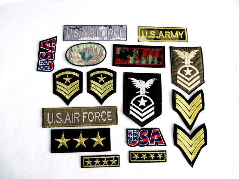 """3/"""" Army Navy Military Insignia Iron On Patch Sew On Glue On Applique Embroidered"""