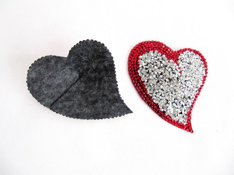 MARICO Nipple Pasties,Rhinestone Nipple Pasties,Valentine Day Gift For Her,Silver And Red Nipple Pasties,Valentines Day Gift,Heart Pasties