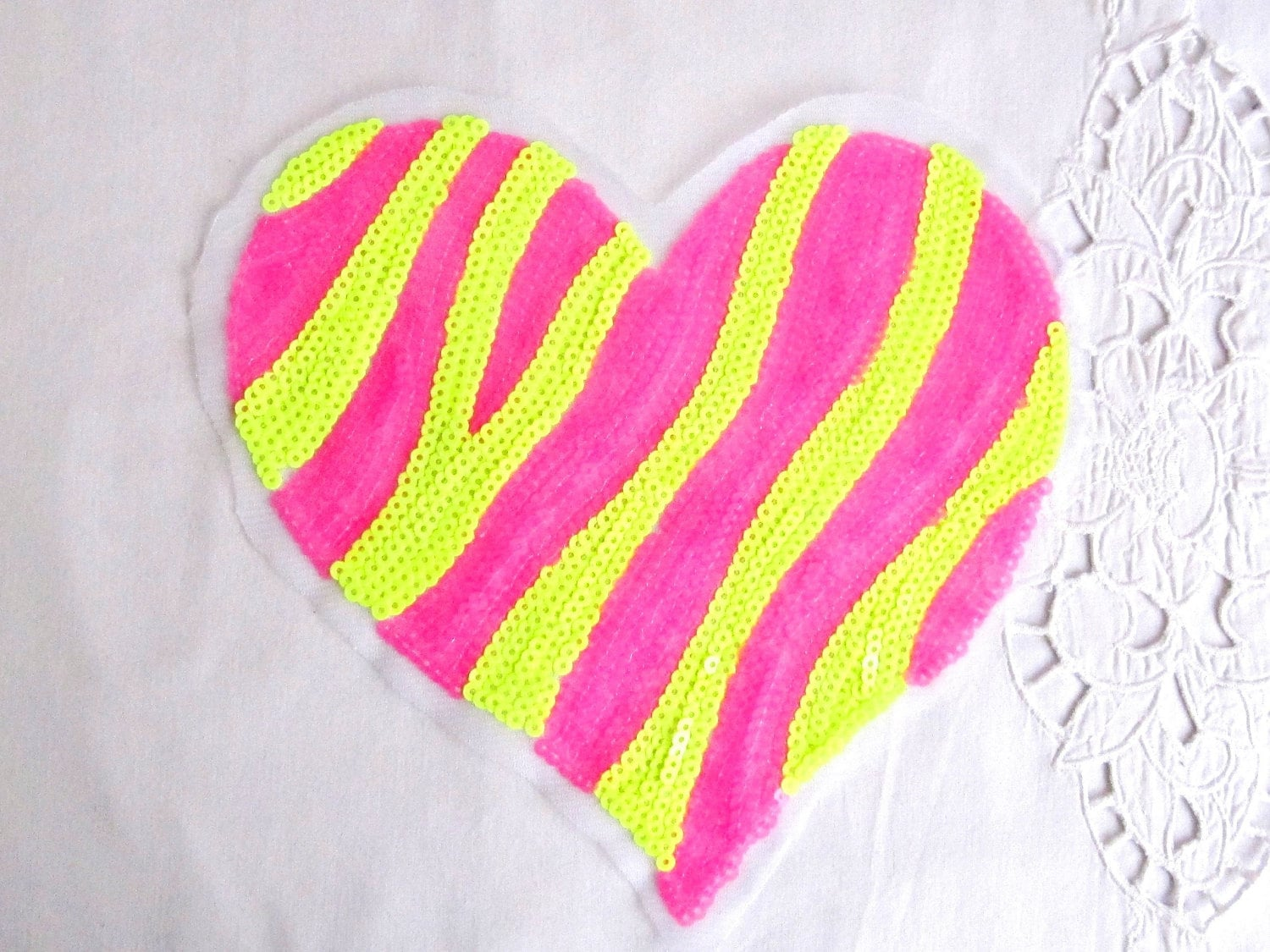 Neon pink heart with zebra design yellow heart applique patch etsy