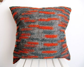 Orange Pillow Cover Orange Pillow Case Cable Knit Pillow Striped Pillow Knit Cushion Cover Accent Pillow Couch Orange Throw Pillow18''