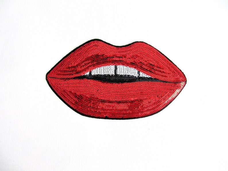 New Sequin Red Lip Embroidered Applique Iron On Sew On Patch Shirt Dress Clothes
