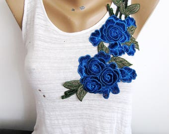3D  Saxe BlueFlower,Blue Floral Applique,Large Flower Patch,Embroidery Flower,Sew On Flower Applique,Costume Embellishment