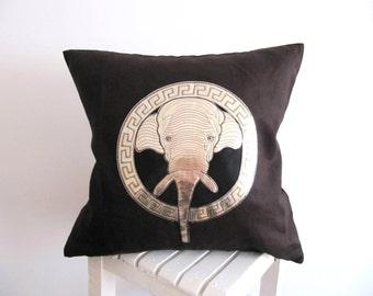 Elephant Pillow Cover Elephant Pillow Case Animal Pillow Elephant Cushion Cover Decorative Pillow Couch Pillow Brown Pillow Linen Pillow18''