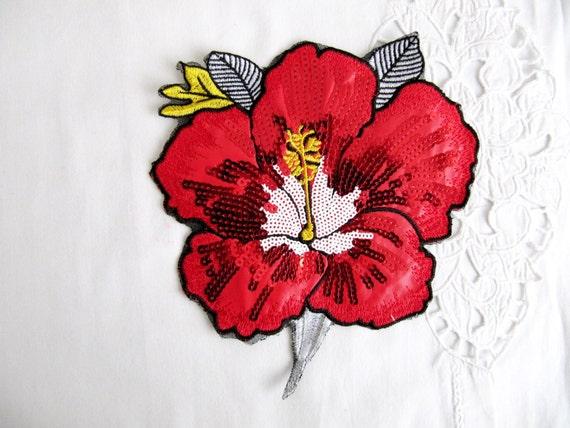 Grande patch di lily applique fiore rosso giglio rosso etsy
