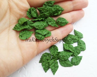 15 pcs.  small green Leaf  polymer clay  bead