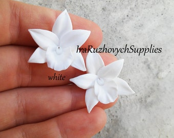 10 pcs.  orchids polymer clay flowers, flower bead