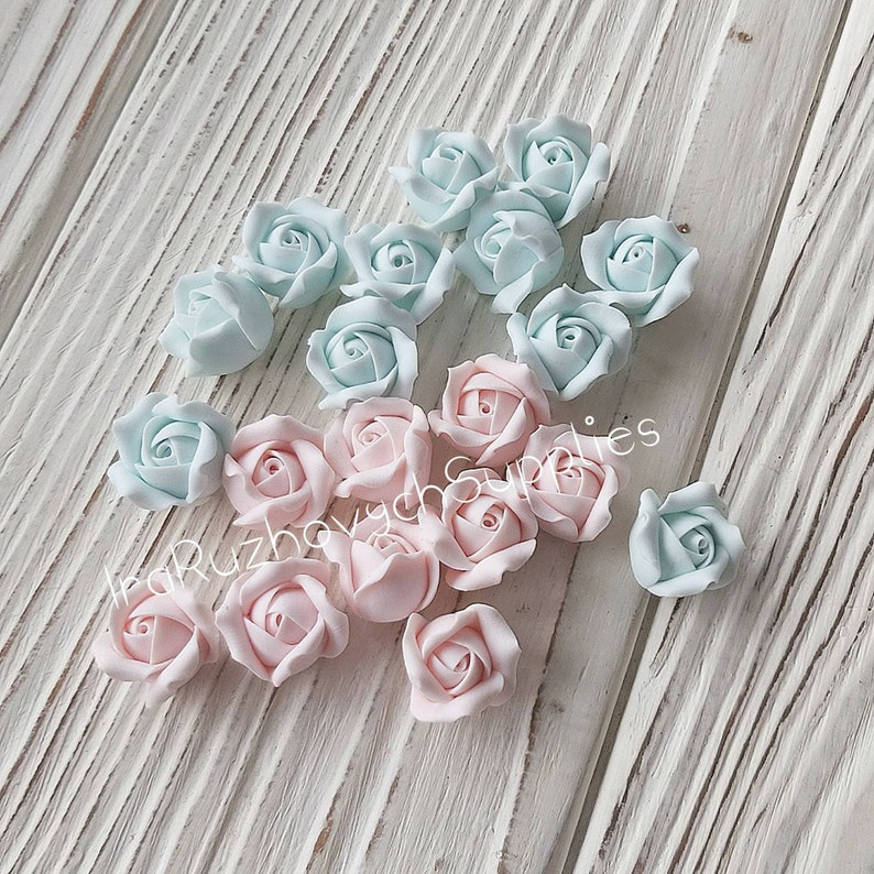 10 pcs Pale pink  pale blue roses with hole on side polymer clay flower bead