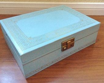 Vintage Aqua Blue Jewelry Box Satin and Crushed Velvet
