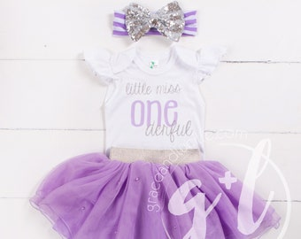 17eac1c64 First Birthday outfit girl, Purple and silver outfit, tutu, flutter sleeve  bodysuit and tutu, baby girl clothes, Little Miss Onederful