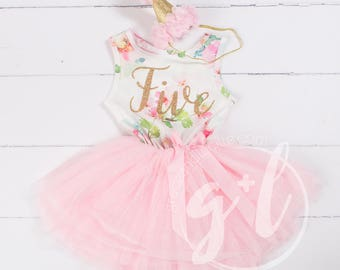 Pink Floral Fifth Birthday Outfit Dress 5th Gold Glitter