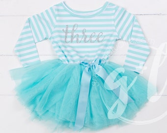Third Birthday Dress Mint And Silver 3rd Outfit Tutu For Girls Or Toddlers Princess
