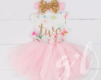 b6b87dc88 Pink Floral Second Birthday Outfit, Second Birthday Dress, 2nd birthday  outfit, 2nd birthday dress, Floral, Pink