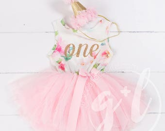 167e5ceee Pink Floral First Birthday Outfit, First Birthday Dress, 1st birthday outfit,  1st birthday dress, Gold Glitter, Floral, Pink