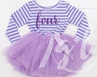 f68d83631 Fourth Birthday Outfit long sleeve, fourth birthday dress, purple tutu dress,  purple script and purple tutu Sofia the first 4th birthday