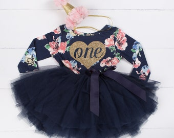 First Birthday outfit girl with heart and navy blue tutu for girls or toddlers, Floral dress, custom dress, long sleeve