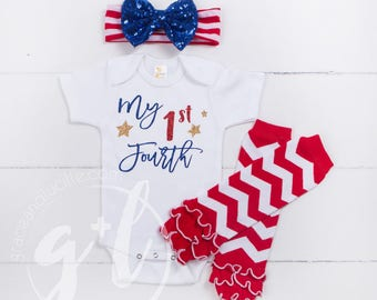 """Fourth of July Outfit, """"My 1st Fourth"""" Baby Fourth of July Onesie, Leg Warmers and Headand Combos, Bodysuit, Independence Day Outfit, Girls"""