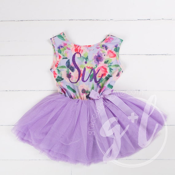 Sixth Birthday floral outfit dress with script six and purple tutu for girls or toddlers, Floral dress, custom dress, sleeveless dress