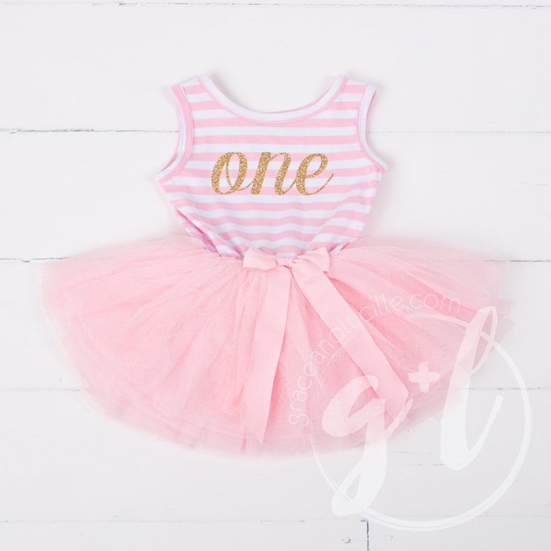 cc6fb761f7 First Birthday outfit dress with gold glitter letters and pink