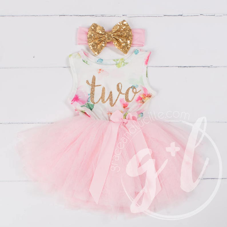 Pink Floral Second Birthday Outfit Second Birthday Dress 2nd image 0