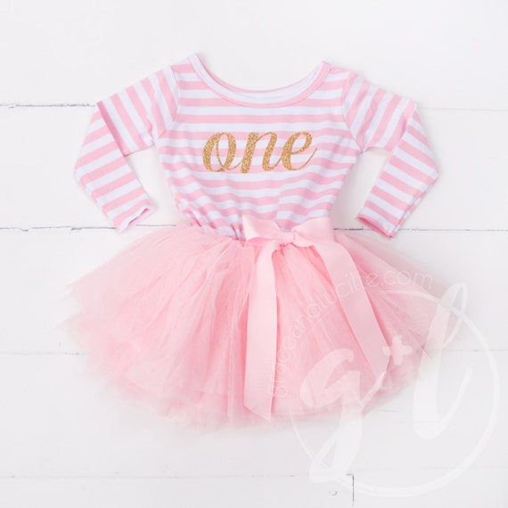 First Birthday Outfit Dress With Gold Letters And Pink